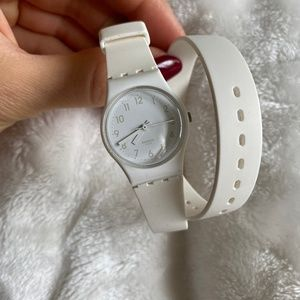 Swatch Watch with Long White Silicone Strap